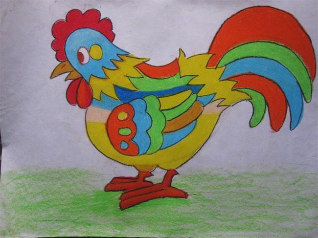 彩色公鸡 儿童蜡笔画作品