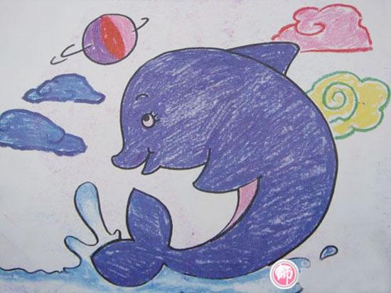可爱的海豚 儿童蜡笔画作品