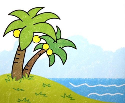南国风景 儿童蜡笔画作品高清图片