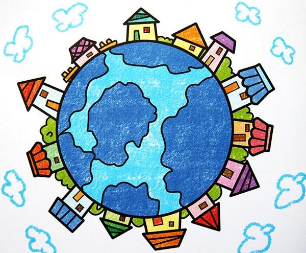 保护地球 儿童彩笔画作品3