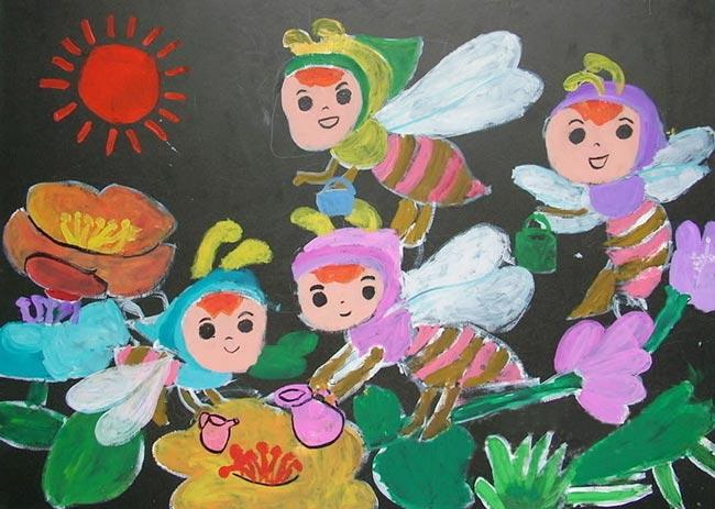 儿童蜜蜂绘画作品-学路网-学习路上 有我相伴