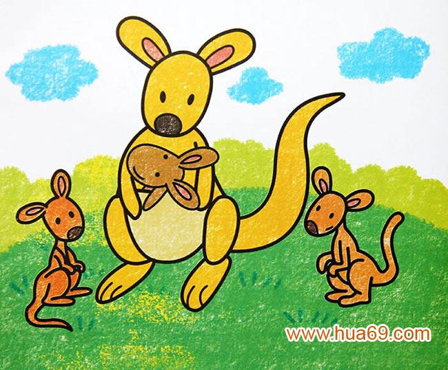 袋鼠妈妈和宝宝_儿童蜡笔画作品