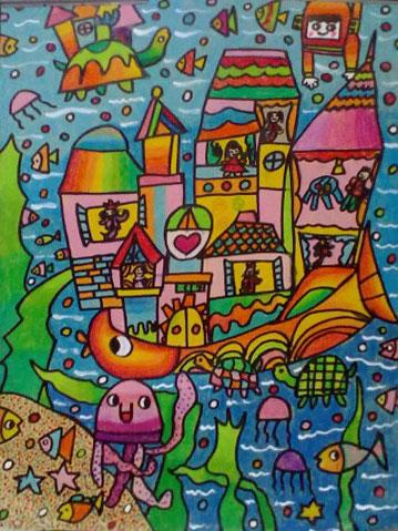 高楼船 儿童彩笔画作品