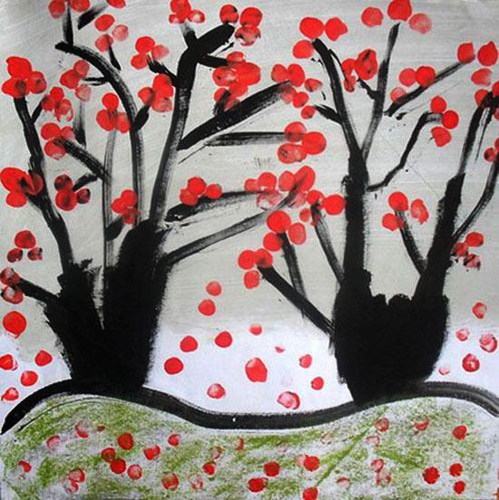 冬天里的梅花 儿童蜡笔画作品