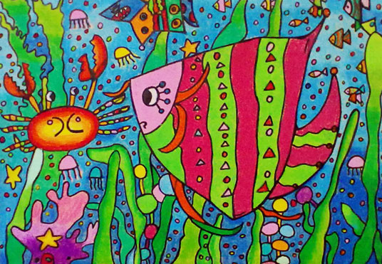 幼儿纸盘海底世界水彩笔画_绘画分享