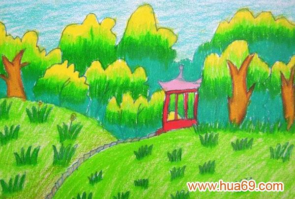 公园一景 儿童蜡笔画作品高清图片