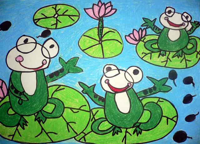荷塘青蛙 儿童蜡笔画作品