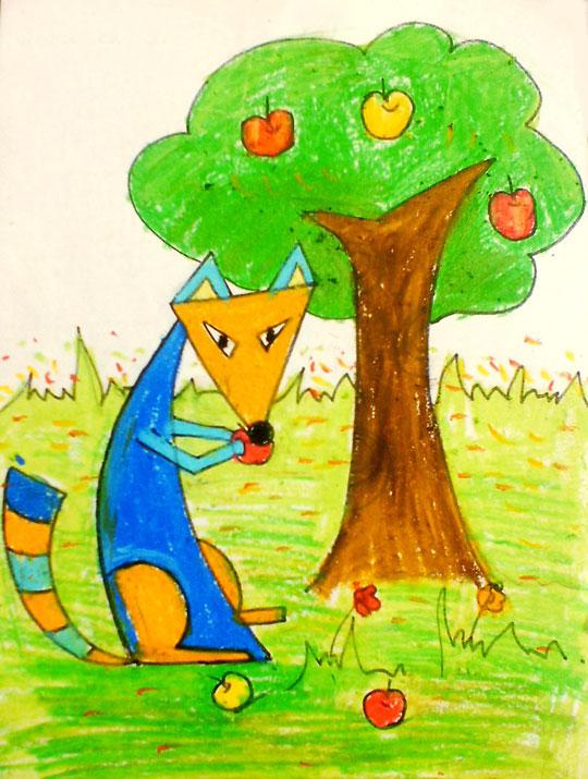 儿童彩笔画作品 狐狸吃苹果