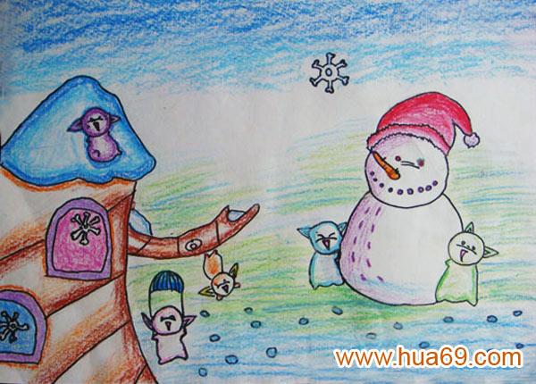 天的雪人 儿童蜡笔画作品