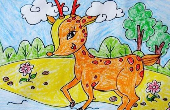 的梅花鹿 儿童蜡笔画作品