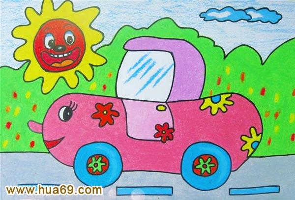 开汽车 儿童彩笔画作品