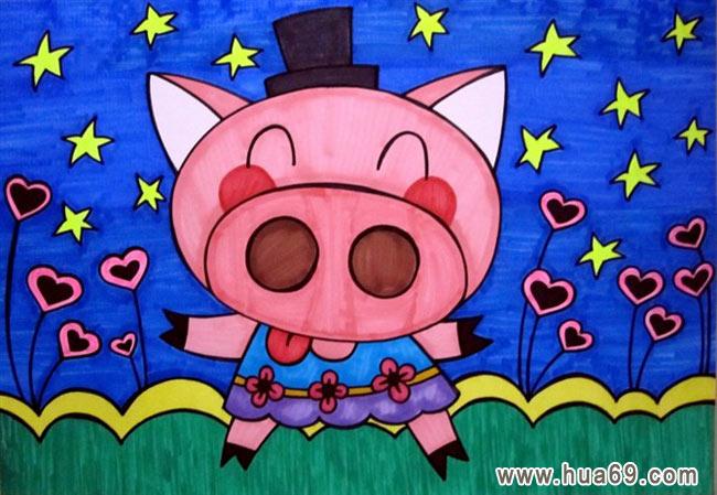 爱小猪 儿童彩笔画作品