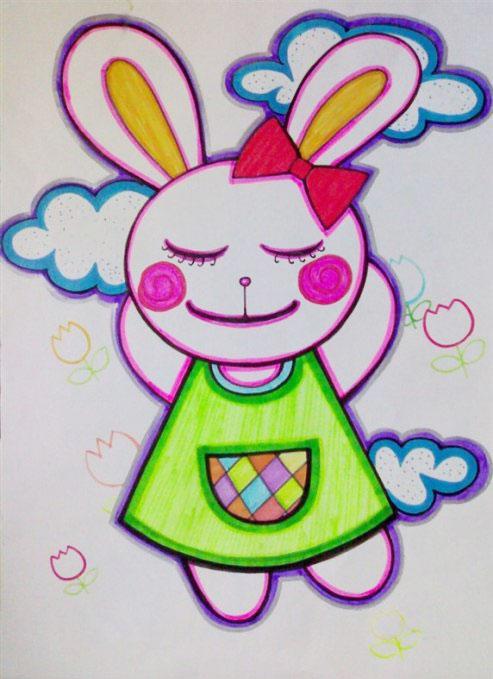可爱的兔子 儿童彩笔画作品