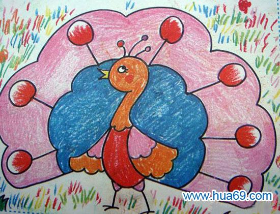 孔雀开屏 儿童蜡笔画作品