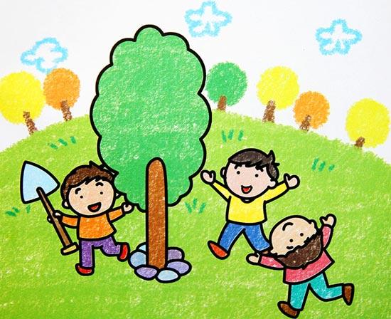 植树节 儿童彩笔画作品