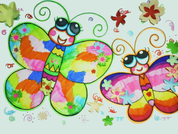 的蝴蝶 儿童彩笔画作品