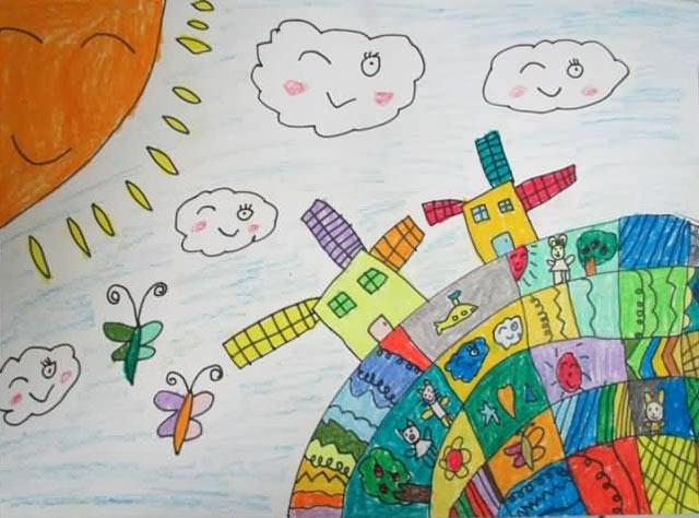 美丽地球 儿童蜡笔画作品