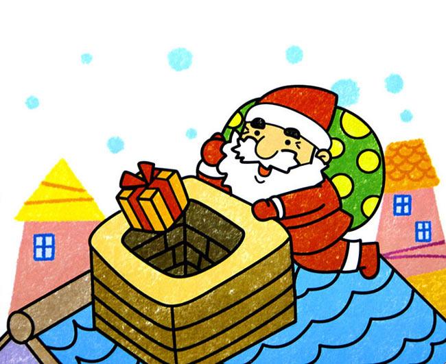 圣诞老人送礼物 儿童蜡笔画作品
