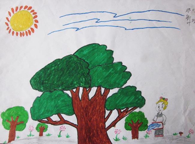 绿色的大树 儿童彩笔画作品