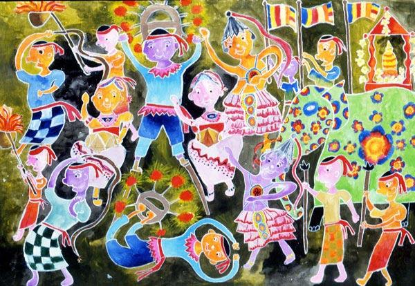 庆祝节日 儿童彩笔画作品