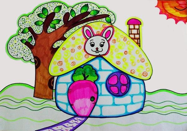 小兔的房子 儿童彩笔画作品