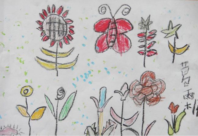 小花朵 儿童蜡笔画作品