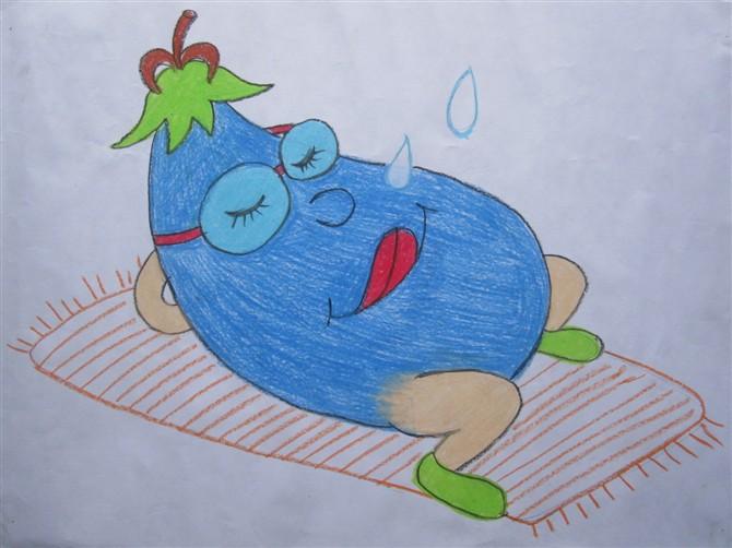 茄子睡觉 儿童蜡笔画作品