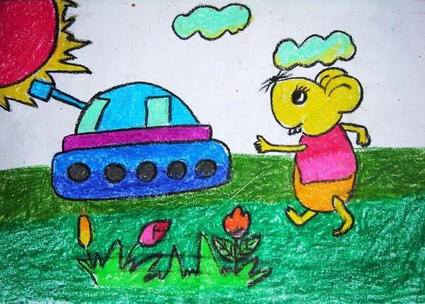 小兔子开坦克 儿童蜡笔画作品图片