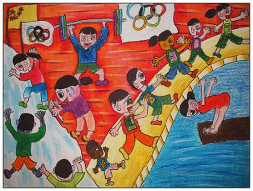我爱运动 儿童蜡笔画作品