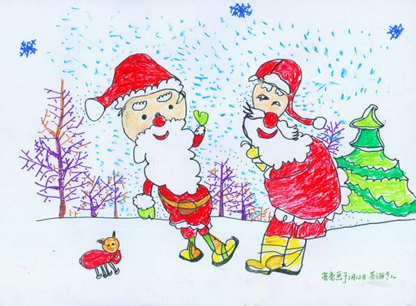 圣诞老人的故事 儿童彩笔画作品