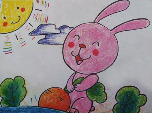 小兔拔萝卜 儿童彩笔画作品