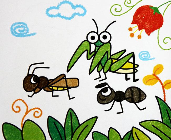 螳螂和蚂蚁 儿童蜡笔画作品