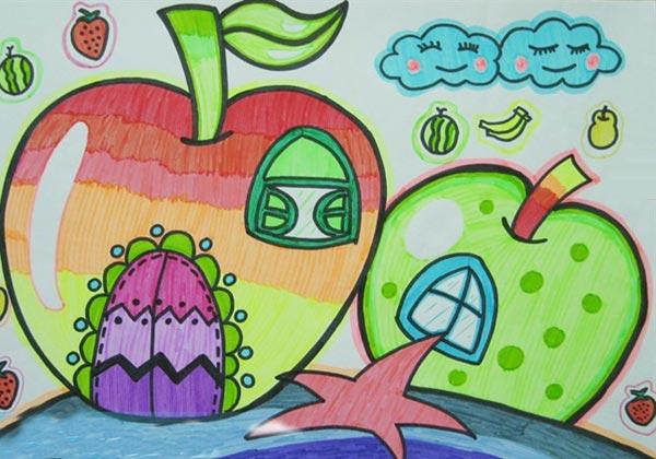 果房子 儿童彩笔画作品