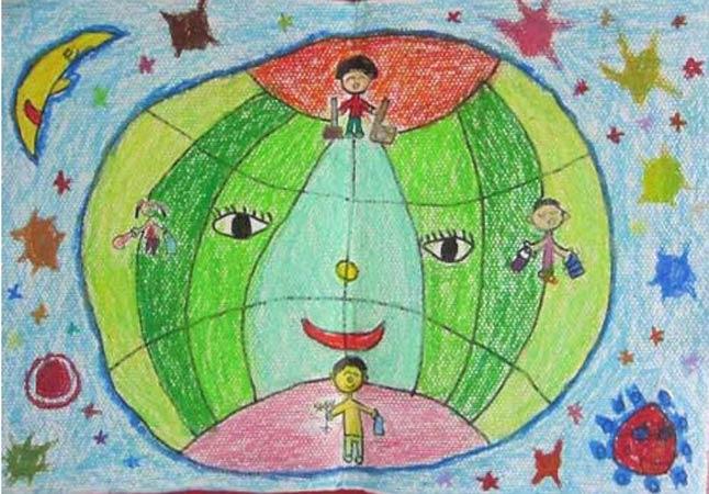 保护环境 儿童蜡笔画作品