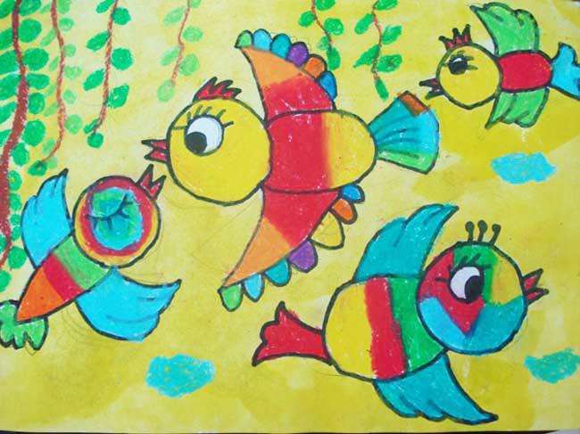的小鸟 儿童彩笔画图片