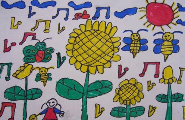 自然的歌 儿童彩笔画图片
