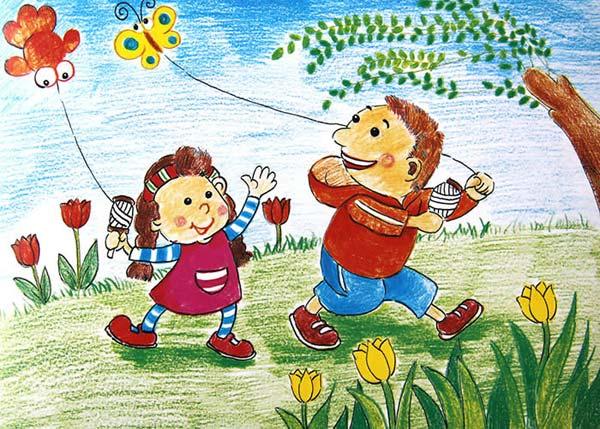 放风筝 儿童画蜡笔画图片