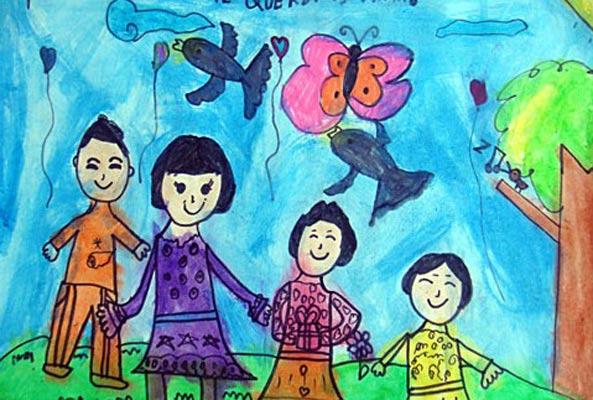 放风筝 儿童蜡笔画图片