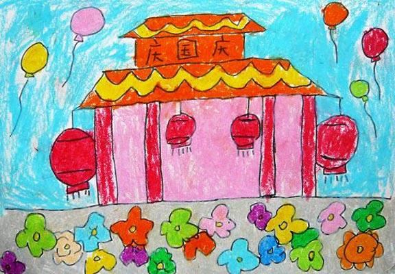 国庆节 儿童彩笔画图片