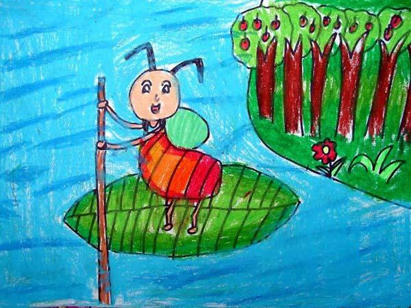 蚂蚁划船 儿童蜡笔画图片