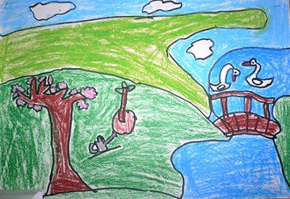 农村风景 儿童蜡笔画图片高清图片