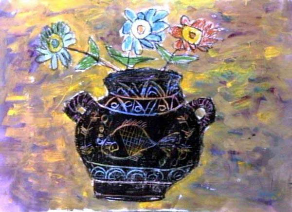 漂亮的花瓶 儿童画蜡笔画