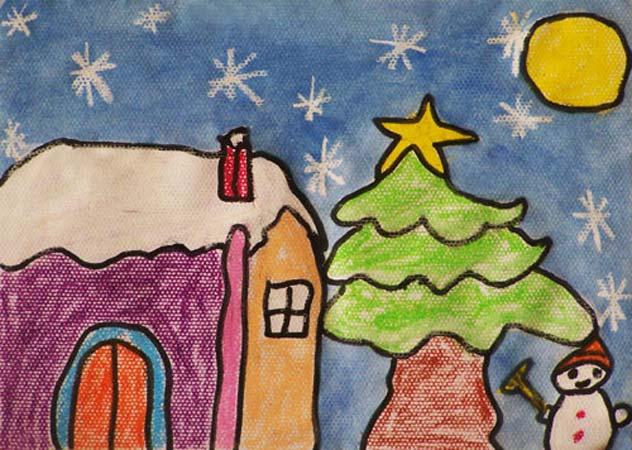 雪景儿童创意画