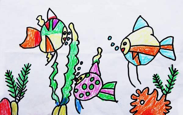 小金鱼 儿童画彩笔画图片