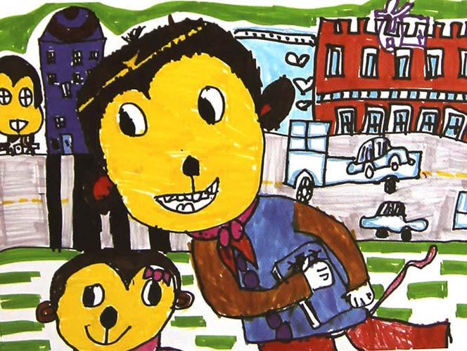 老师和学生_儿童画彩笔画图片