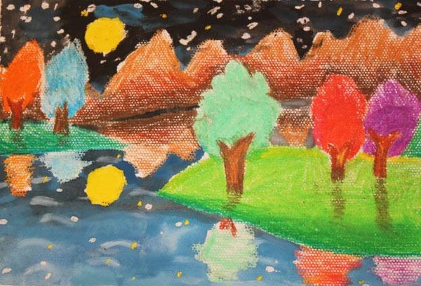 水粉风景画作品