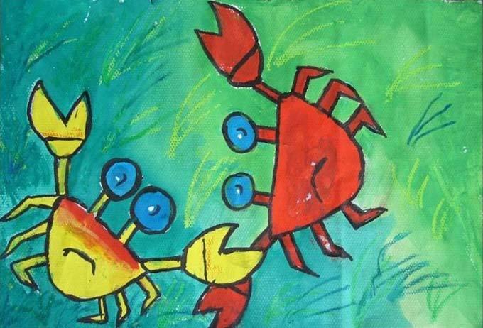 两只螃蟹 儿童画彩笔画图片