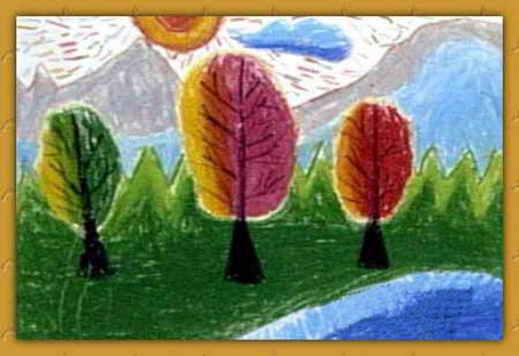 山林风景 儿童蜡笔画作品高清图片