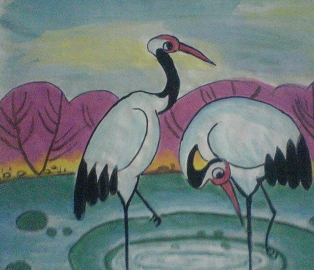 两只仙鹤 儿童画彩笔画图片