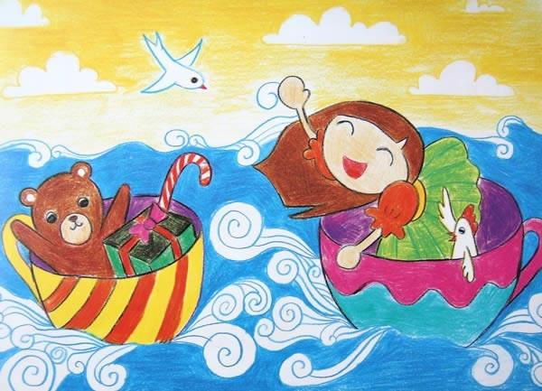 奇怪的船 儿童画彩笔画图片图片